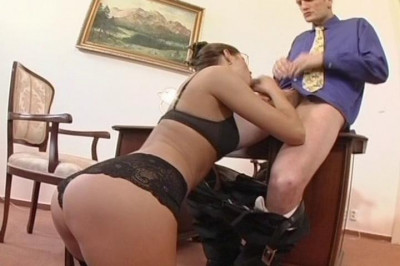 Secretary In Stockings Sucks Off Her Man