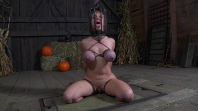 Big breasted blonde Darling trained for brutal deepthroat in headcage, bent over strappado fucked!