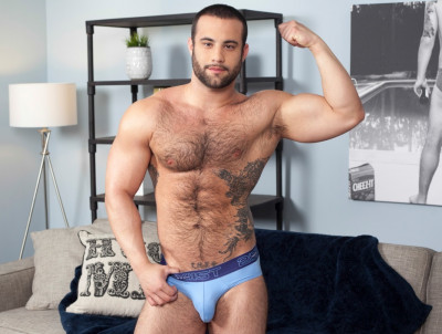 Dex Hammer is hung, furry and horny - model, first time, takes.