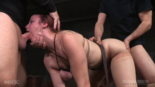 bdsm Bella bound bent over and turned into a sex sandwich