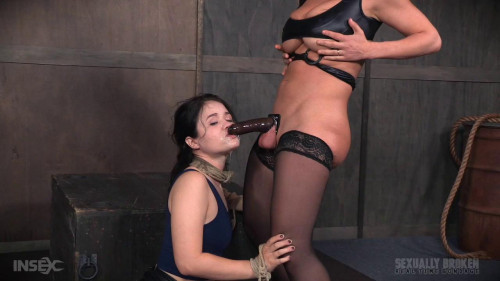 bdsm Yhivi Tied to Box and Fucked From Both Ends By Couple