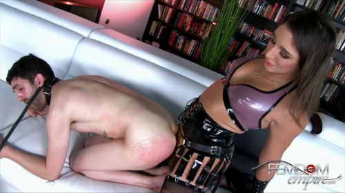 Femdom and Strapon Rubber dick in the ass man