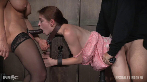 bdsm Tiny Slut Anna De Ville Spit Roasted By Couple and Made to Cum