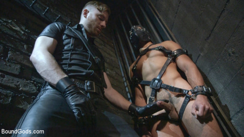 Gay BDSM Mr Keys beats and fucks tough new slave