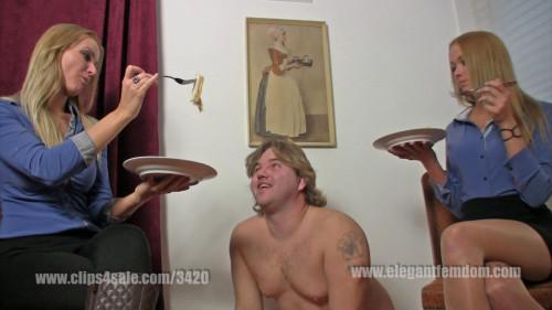 Femdom and Strapon Mistress Demona and Lady Becca slave feeding (2016)