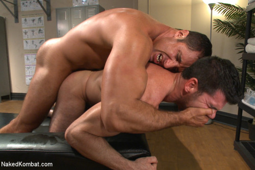 Top Cock: Huge muscles, raging hard cock and don't forget the oil!