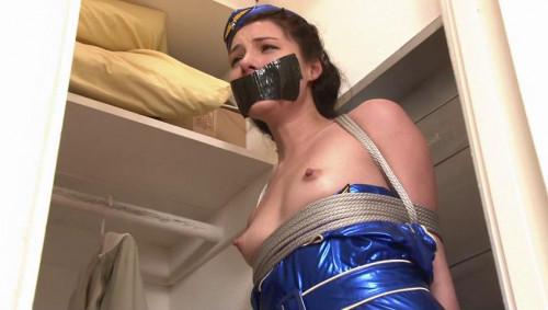 bdsm Bound and Gagged - Sexy Stewardess Bound in the Closet - Miss Izzy Champayne