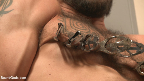 Gay BDSM Ripped gym rat Aarin Asker takes a giant fist while in suspension