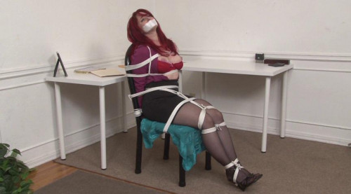 bdsm Bound and Gagged - Secretary Andrea Rosu Tied Up and Topless