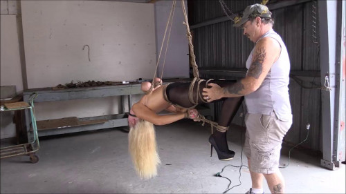 bdsm Amanda Foxx Hung By Her Tits With Care