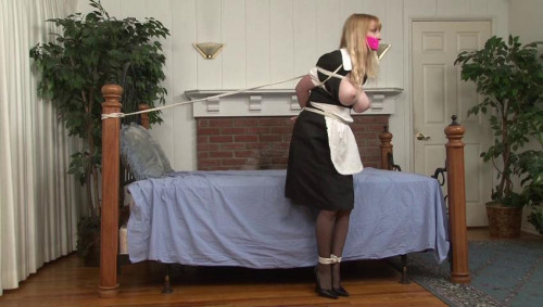 bdsm Bound and Gagged - Topless Maid Lorelei is Tethered to the Bed