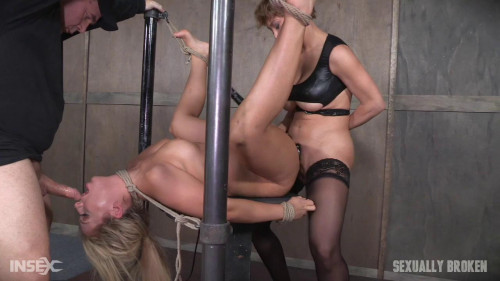 bdsm Super Hot Madelyn Monroe Tied With Legs Spread Wide and Tag Teamed By Couple