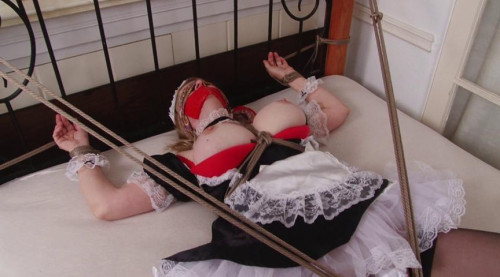 bdsm Bound and Gagged - French Maid Bound SpreadEagle for Vibrator Orgasms
