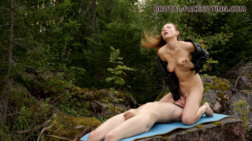 Femdom and Strapon Mistress Margaret - Facesitting In The Nature