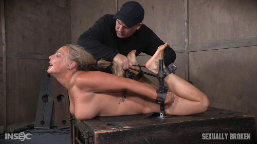 bdsm Big titted Blond MILF is hogtied and face fucked into oblivian. Tight bondage, deep throat, Orgasms