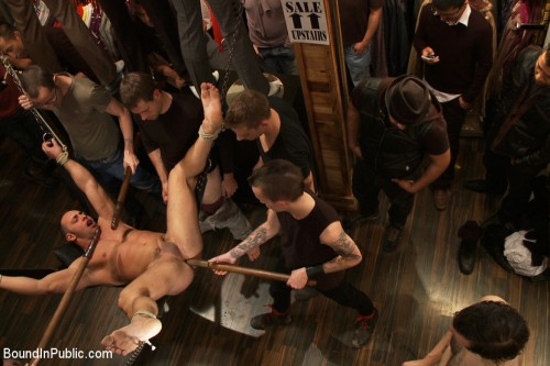 Gay BDSM Ripped Muscle, Fat Cock, Round Ass, Humiliated in Public