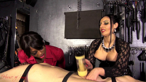 Femdom and Strapon Mistress Ezada Sinn and Mistress Ava Black - Milking Machine