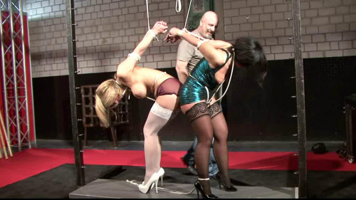 bdsm Hot blonde and sexy brunette - tight bondage and suspension