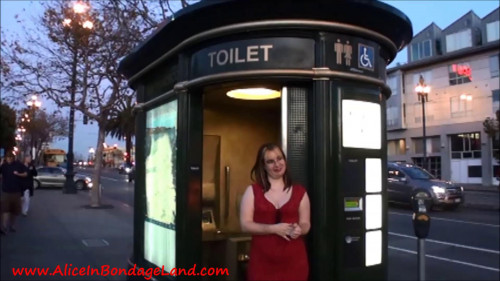 Femdom and Strapon Piss Pants Public Toilet Humiliation - Mistress Alice and Madame TrixieFou