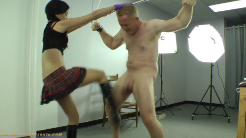 Femdom and Strapon Miss Tiffany Learns to Skewer Testicles - Part 1