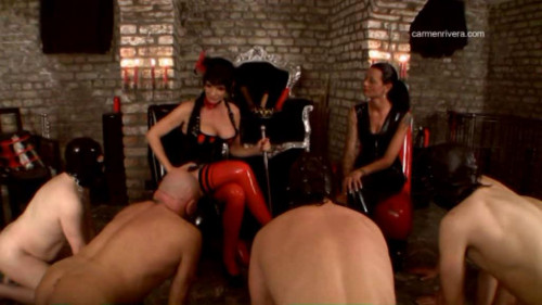 Femdom and Strapon Three guys and related subordinate their domination
