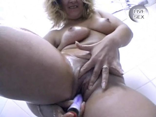Fisting and Dildo Busty blondie going wild