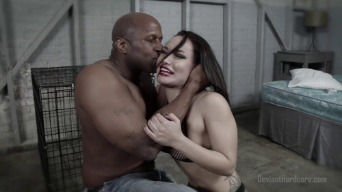bdsm Caged Gabi Paltrova sucks big black cock