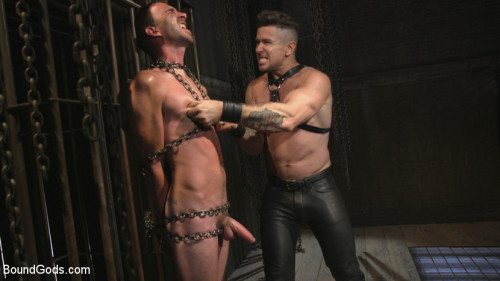 Gay BDSM New Sub, Tyler Phoenix Caged and Tormented