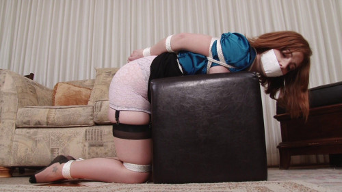 bdsm Bound and Gagged - Ginger Sparks Bound in Girdle and Stockings