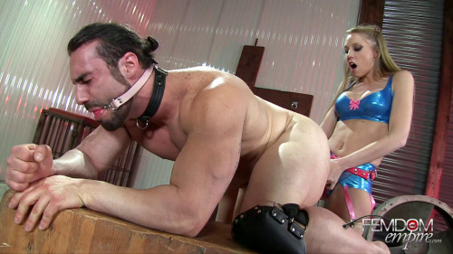 Femdom and Strapon Biggest strap-on for muscle man
