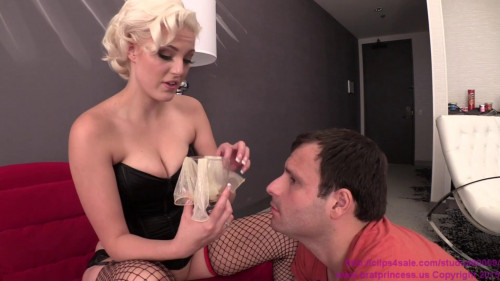 Femdom and Strapon Jenna Ivory Cuckold Fed Condoms Full of Cum then Given a Choice (2015)