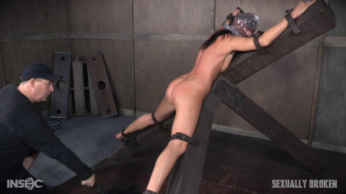 bdsm Hot Milf India Summers is strapped to and X frame, hooded, gagged, and brutally fucked (2016)