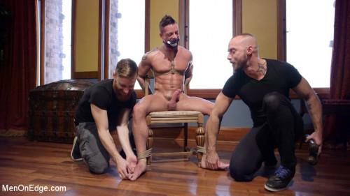 Gay BDSM Chiseled guy begs to cum under intense edging