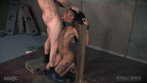 bdsm Nikki Darling is throat overloaded as two big cocks face fuck her into subspace. Metal Bondage.