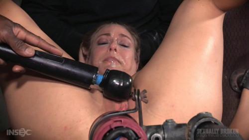 bdsm Busty MILF shackled onto fucking machine with epic deepthroat