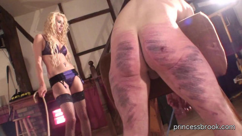 Femdom and Strapon Princess Brook - Caning spanking