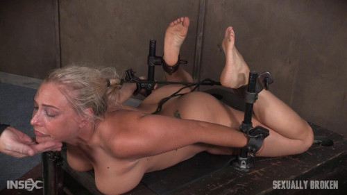 bdsm Big titted Blond MILF is hogtied and face fucked into oblivian