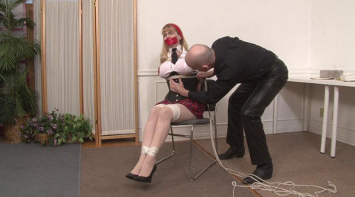 bdsm Bound and Gagged - School Uniform Bondage Victim gets Tied Up