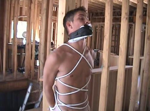 Gay BDSM Bound And Gagged - Bondage Under Construction