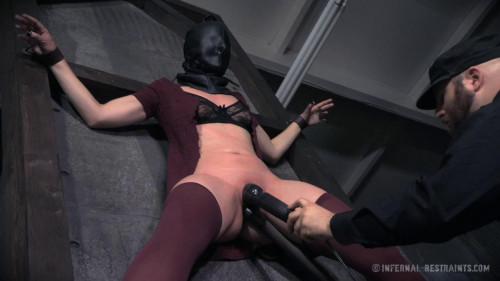 bdsm Tight bondage, hogtie, spanking and torture for naked brunette