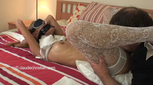 bdsm Crystal tied in pantyhose and naked