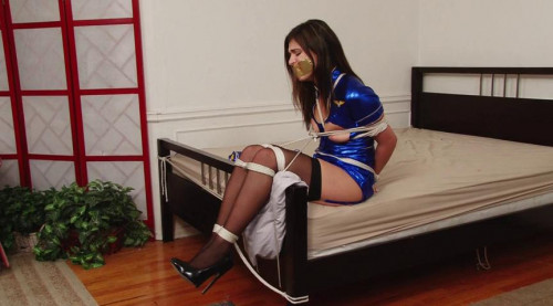 bdsm Bound and Gagged - Sexy Stewardess Struggles in Bondage - Miss Leah Gotti