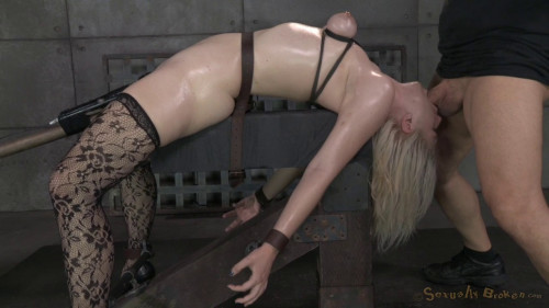 bdsm Beautiful Blonde Ella Nova Bound Dildoed And Deepthroated