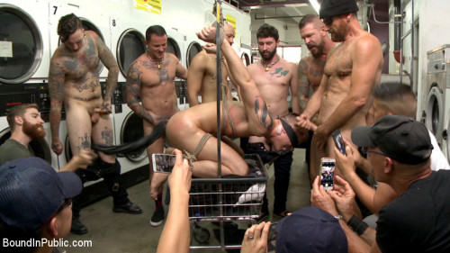 Gay BDSM The Laundromat Spitroast