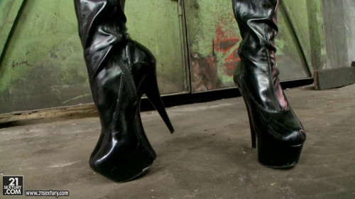 Femdom and Strapon Fetish Boots