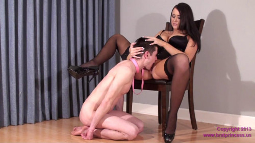Femdom and Strapon Virgin Slave Danni Eats His First Pussy