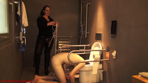 Femdom and Strapon Deepthroated, then fucked and ruined with his head in the toilet