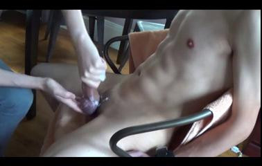 Femdom and Strapon Ruined orgasms over and over in bondage chair