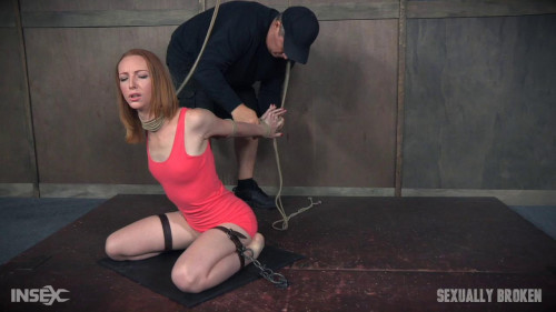bdsm Katy Kiss the sexy tall redhead, is severely bound...