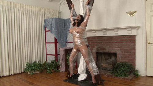 bdsm Bound and Gagged - Barefoot in Bondage - Kelly KanePlastic Wrap on XCross for Sofie Marie